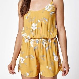 Kendall & Kylie Mustard Lace Inset Romper
